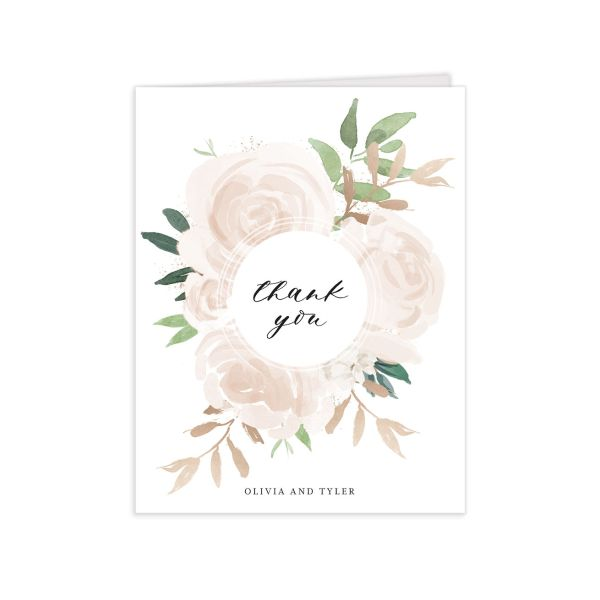 floral bouquet thank you cards in pink