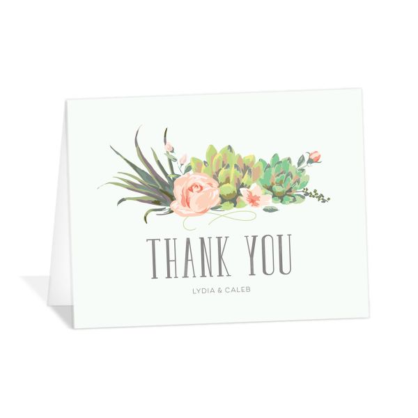 Romantic Succulents thank you card grn