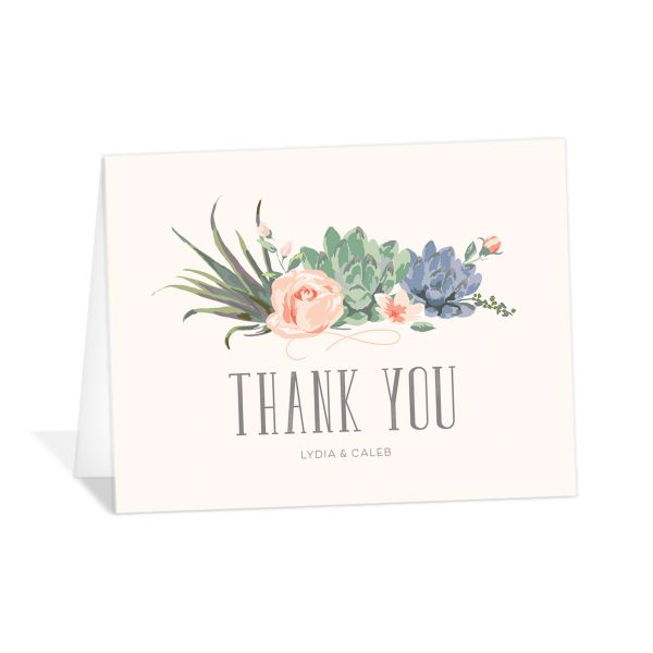 Romantic Succulents thank you card pnk