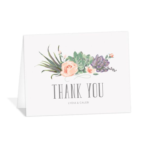Romantic Succulents thank you card pur