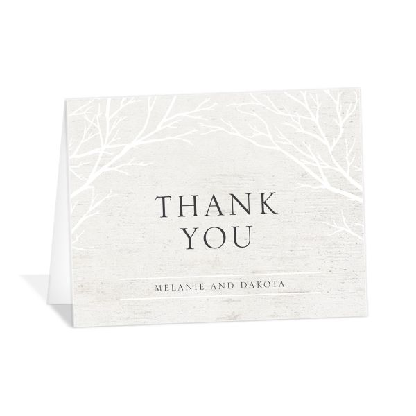 Rustic Birch wedding thank you card front