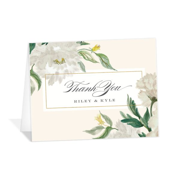 velvet floral wedding thank you cards in green