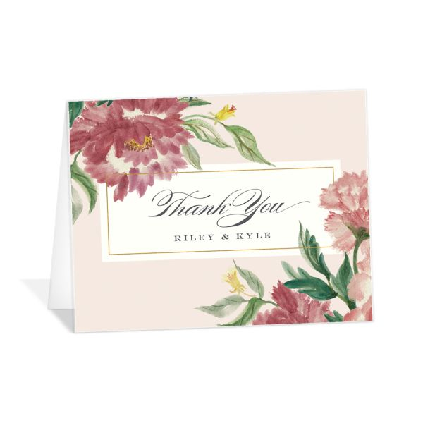 velvet floral wedding thank you cards in pink
