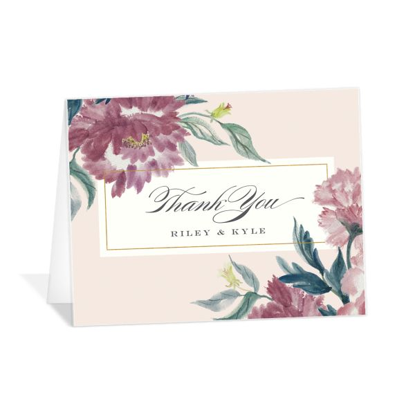 velvet floral thank you card in purple