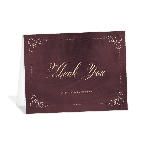 vintage luxe folded thank you cards