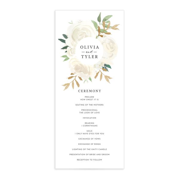floral bouquet wedding program in white