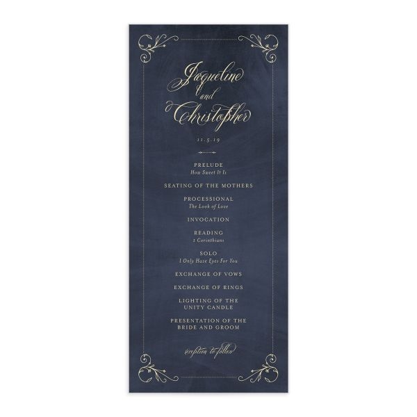 vintage luxe wedding program
