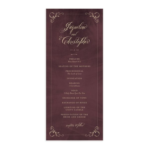 vintage luxe wedding programs in burgundy