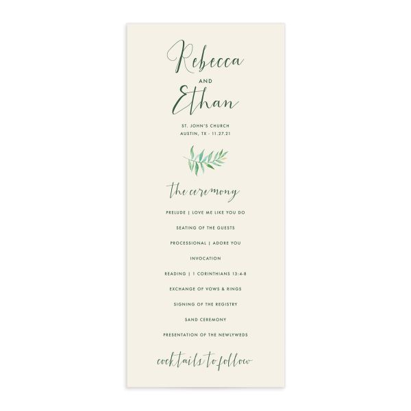 Calligraphic Botanical wedding program cream front