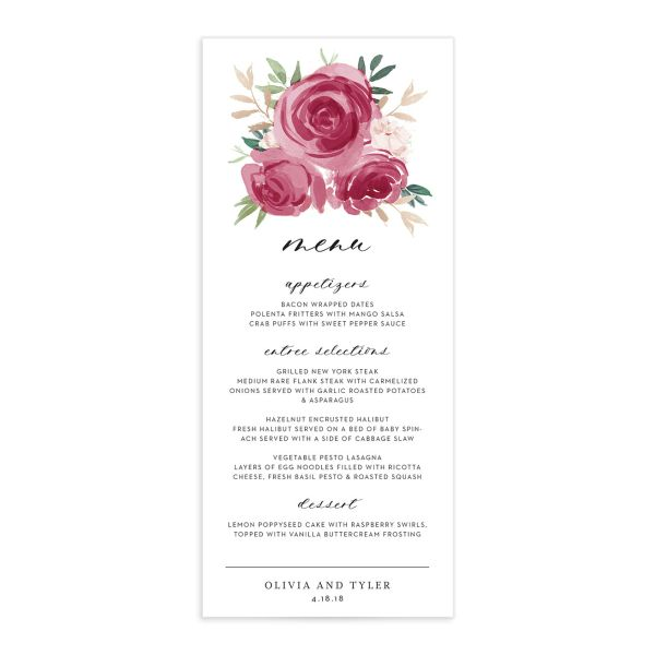 floral bouquet menus in burgundy