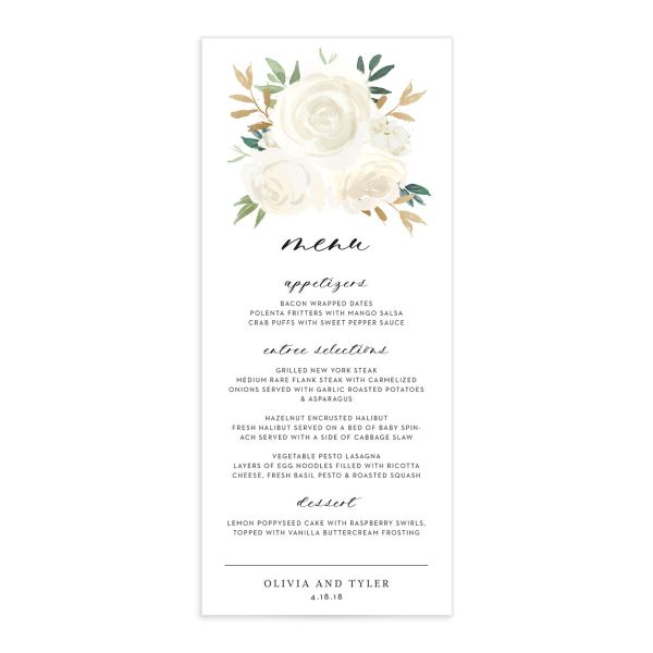 floral bouquet menu in white