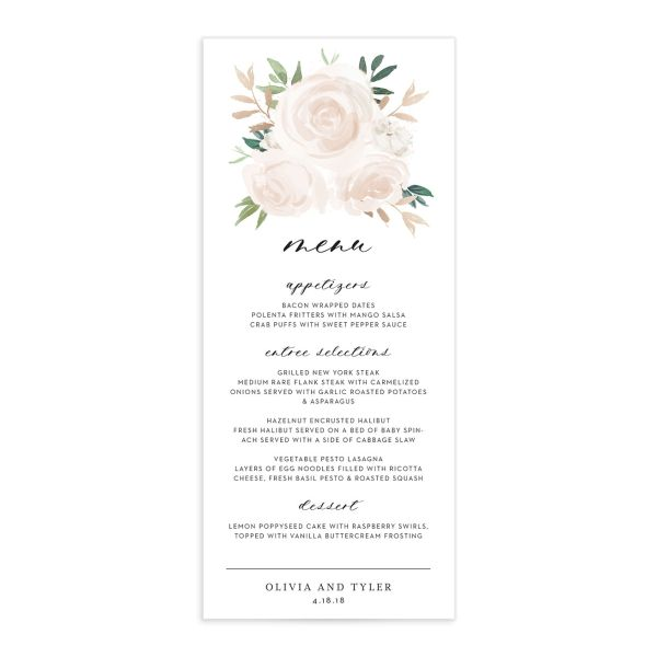 floral bouquet menus in pink