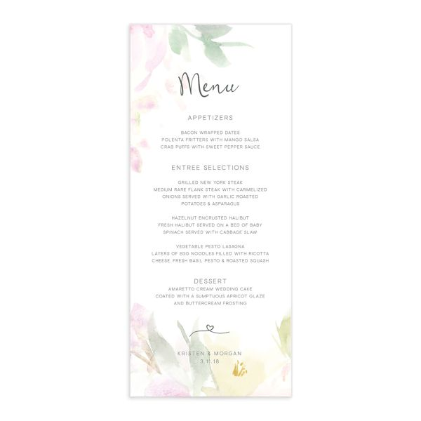 Romantic Watercolor Menu front