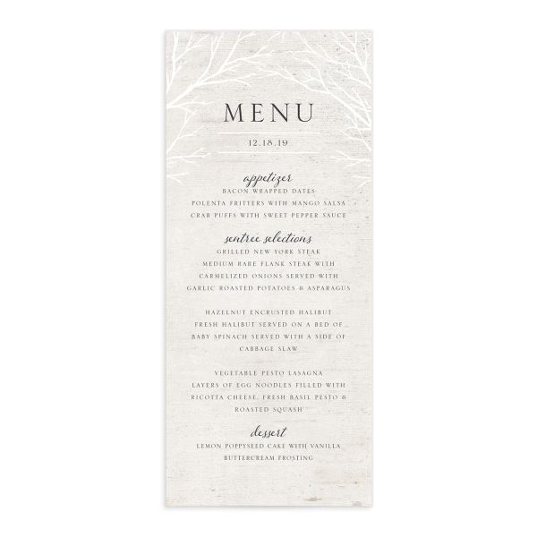 Rustic Birch wedding menu front