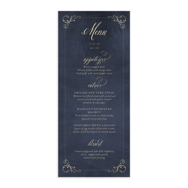 vintage luxe wedding menus