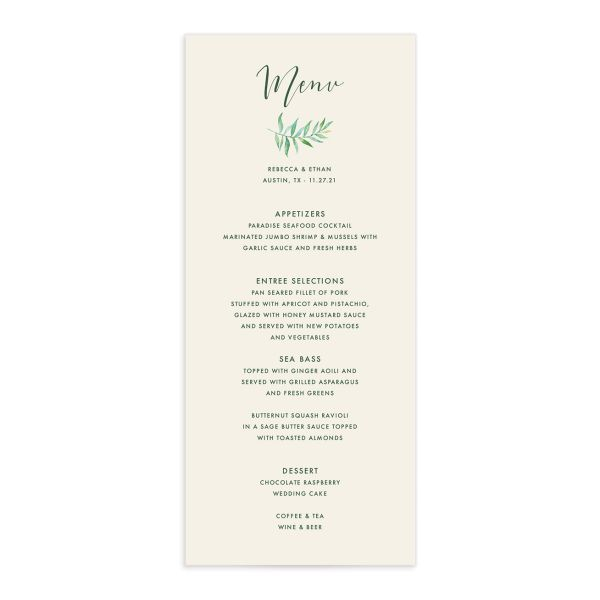 Calligraphic Botanical wedding menu cream front