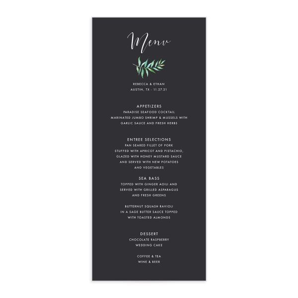 Calligraphic Botanical wedding menu gray front