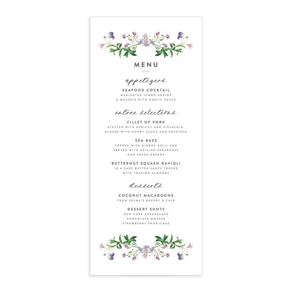 enchanted wildflower menus in purple