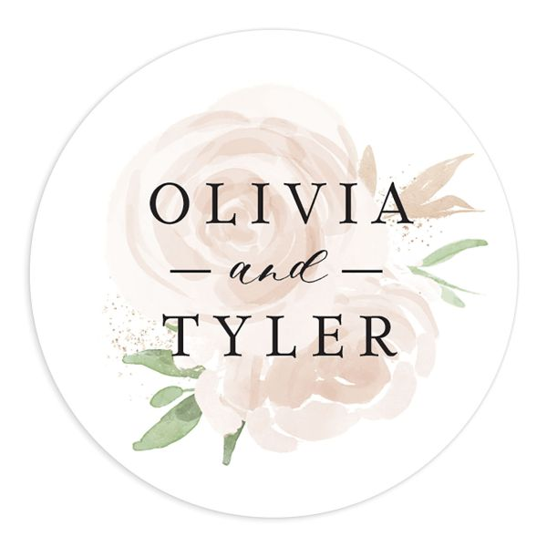 floral bouquet wedding stickers in pink