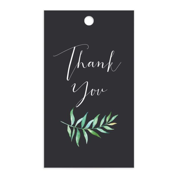 Calligraphic Botanical gift tag gray front