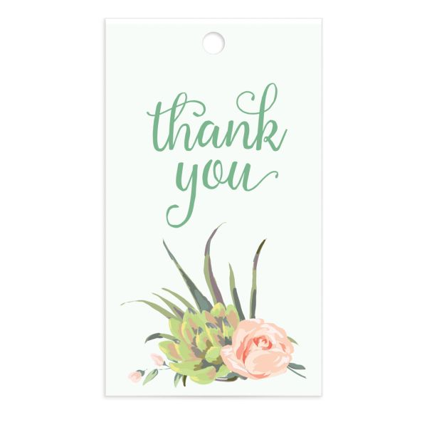 Romantic Succulents gift tag grn