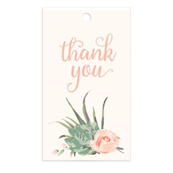 Romantic Succulents gift tag pnk
