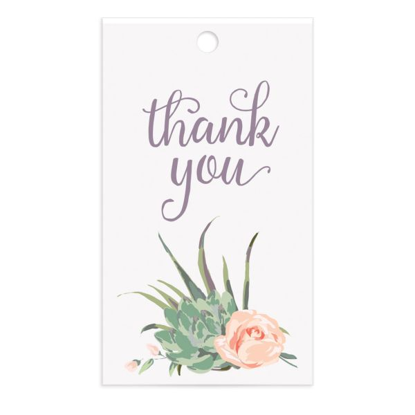 Romantic Succulents gift tag pur