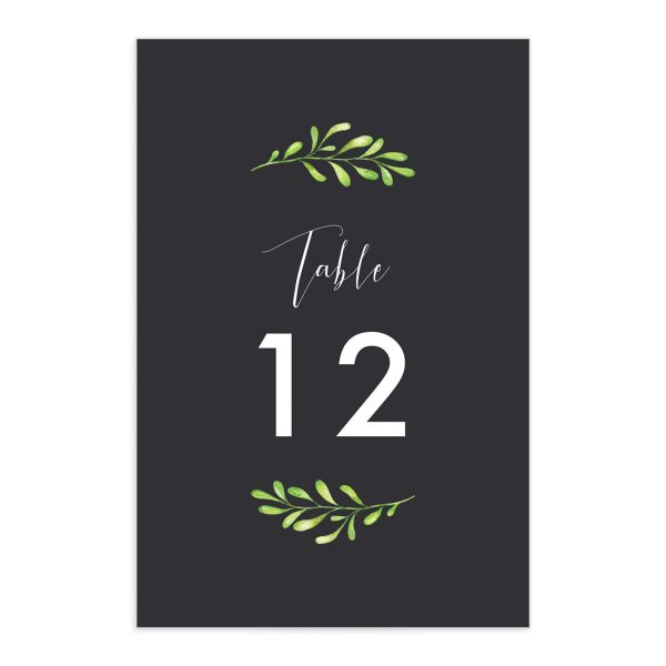 Calligraphic Botanical table number gray front