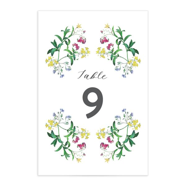 enchanted wildflower table numbers in green