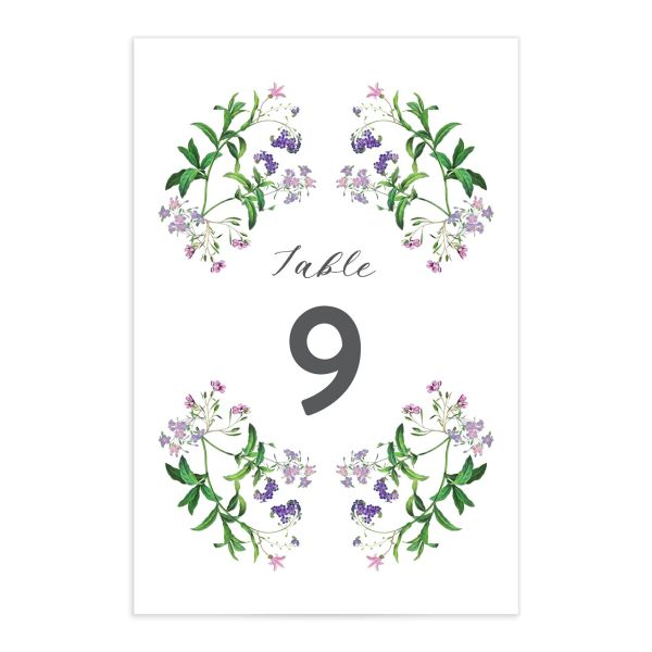 enchanted wildflower wedding table numbers in purple