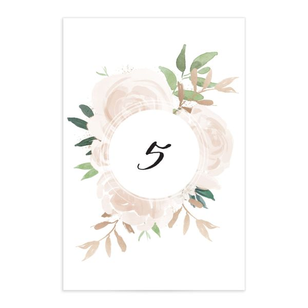 Floral Bouquet Table Numbers in Pink