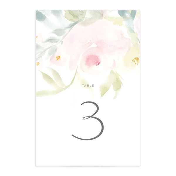 Romantic Watercolor table number front