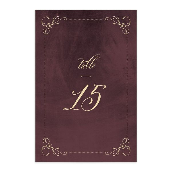 vintage luxe table numbers in burgundy