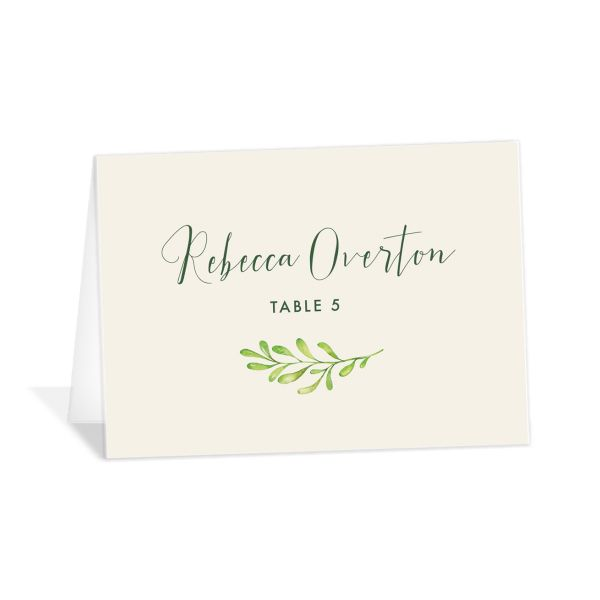 Calligraphic Botanical place card cream