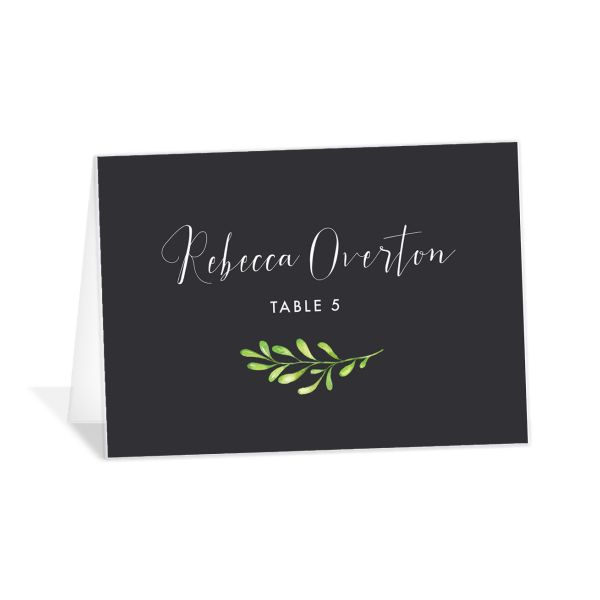 Calligraphic Botanical place card gray