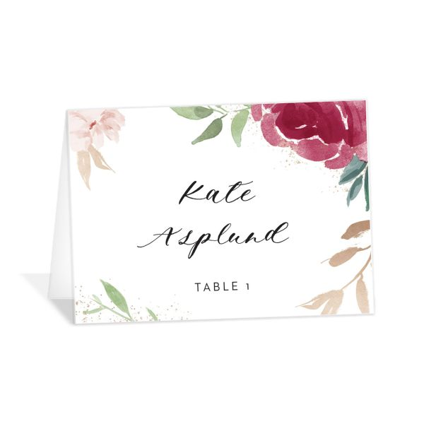 floral bouquet place cards in burgundy