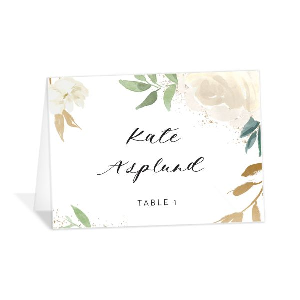 floral bouquet place cards in white