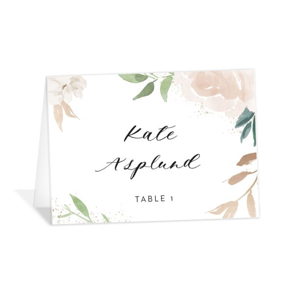 floral bouquet place cards in pink
