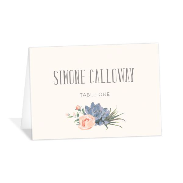 Romantic Succulents place card pnk