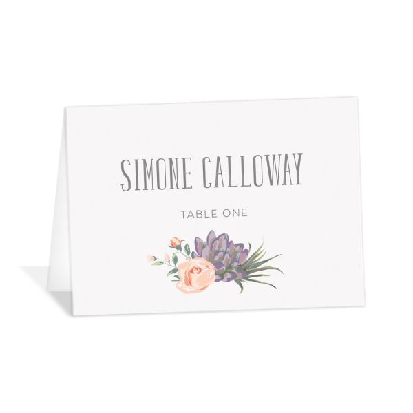 Romantic Succulents place card pur
