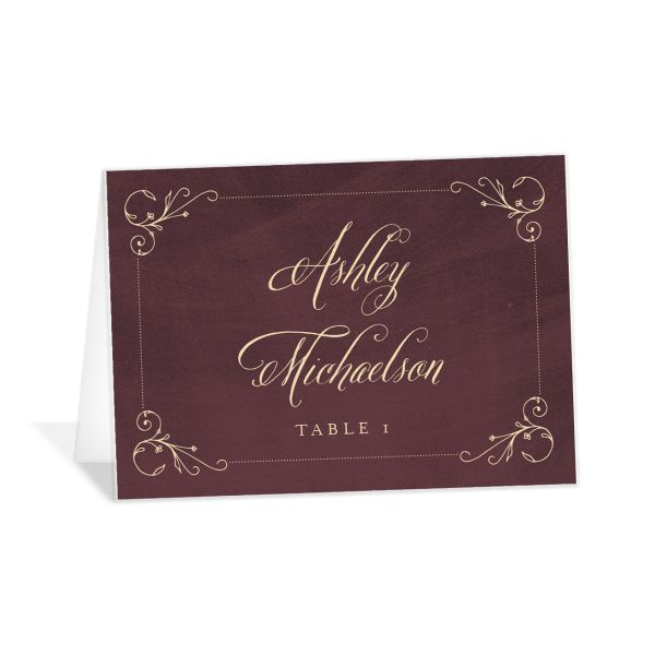 vintage luxe place cards in burgundy