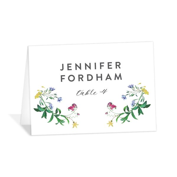 enchanted wildflower place cards in green