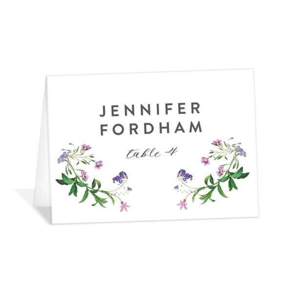 enchanted wildflower place cards in purple