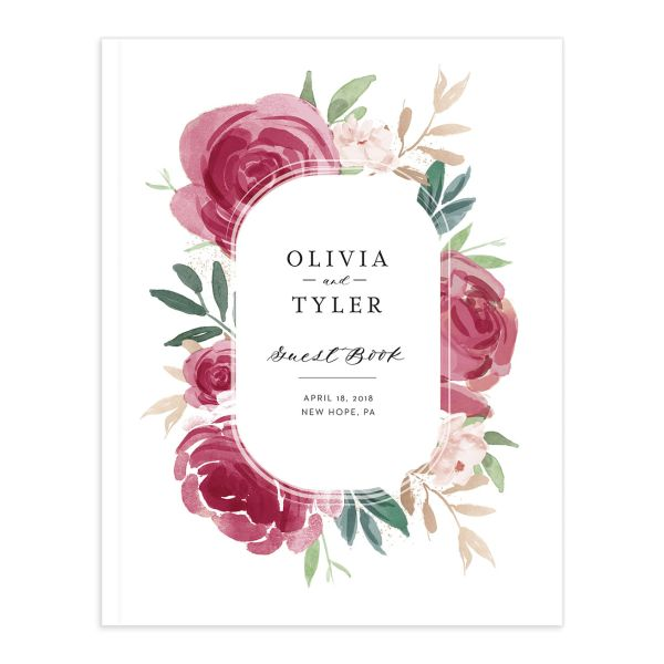 floral bouquet wedding guest books in burgundy