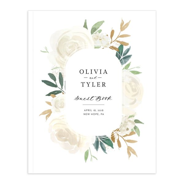 floral bouquet wedding guest book in white