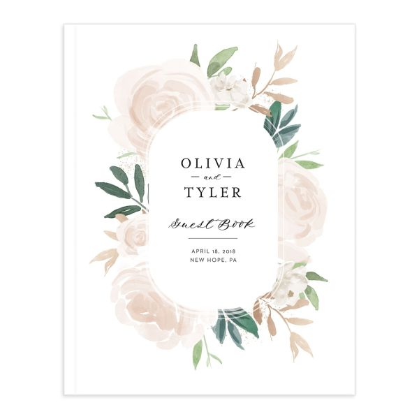 floral bouquet wedding guest book in pink