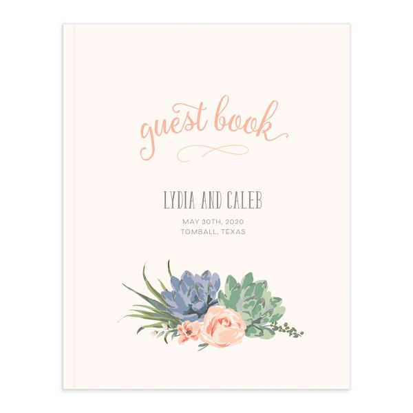 Romantic Succulents guest book pnk