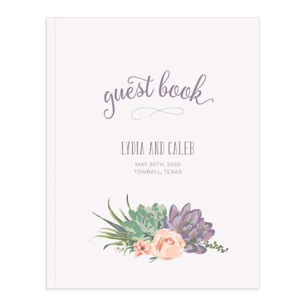 Romantic Succulents guest book pur