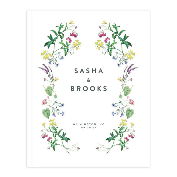 enchanted garden wedding guest book in green