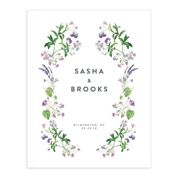 enchanted wildflower wedding guest book in purple